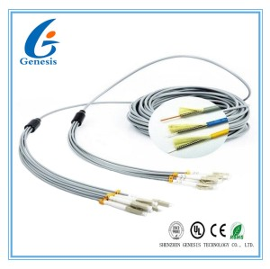 FO Sensor 6 Core Multimode Fiber Optic Cable , Gray LC - LC Fiber Optic Armored Cable