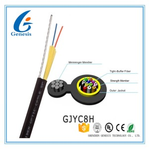 LSZH Jacket self-supporting outdoor FTTH cable 2 core fiber optic cable , drop wire cable