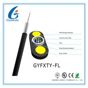 Uni-Loose Tube Flat aerial drop cable with 24 core uni loose tube optical fiber cable from factory