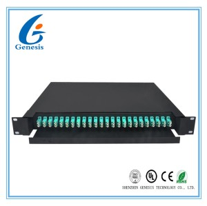 Metal Frame 1U 24 Port Patch Panel , Multimode 48 Core Optical Patch Panel