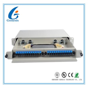 SC / UPC Metal Fiber Rack Mount Patch Panel 24 Port 24 Core Fiber Distribution Unit