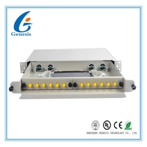 ST / UPC Fiber Optic Cable Patch Panel , Drawer Type ODF Fiber Termination