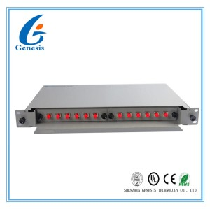 Rack Mount Fiber Patch Panel 12 Port 19′′ 1U FC Adapter Singlemode Metal Alloy
