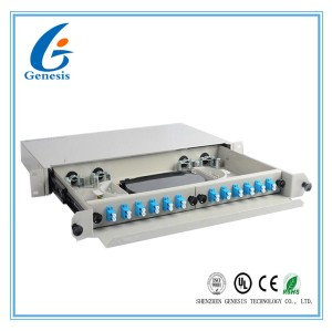12 Port Rack Mount Patch Panel 1U , 19 Inch 24 Core LC Optical Fiber Patch Panel