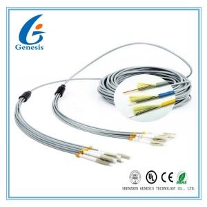 FO センサー 6 芯マルチモード光ファイバー ケーブル、灰色の LC - LC 光フ