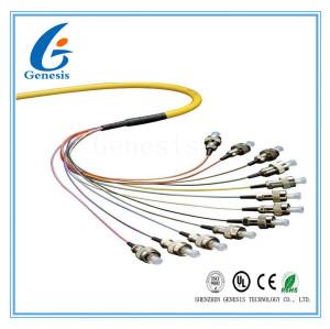 Liez le SM de fibre optique le millimètre 0,9/2.0mm de tresse duplex de 48 noyaux avec le connecteur de FC