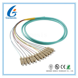 50 / 125 câble de pullover optique de fibre optique de fibre de Sc 12 de tresse d'OM4 OM3 avec la veste de PVC