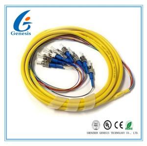 Câble optique unimodal de fibre de ruban de groupe de tresse de sortance de noyau des biens 12