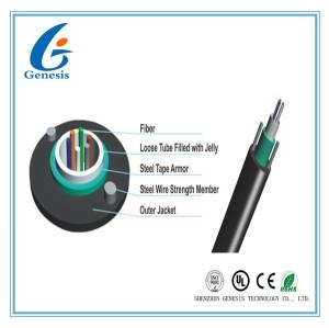 Câble à fibres optiques blindé léger d'Unitube, noyau du câble optique 12 de fibre de GYXTW pour le conduit