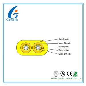 Innen2 entkernen Lichtwellenleiter-flach Duplex 1KM 2KM für Verbindungskabel/Zopf