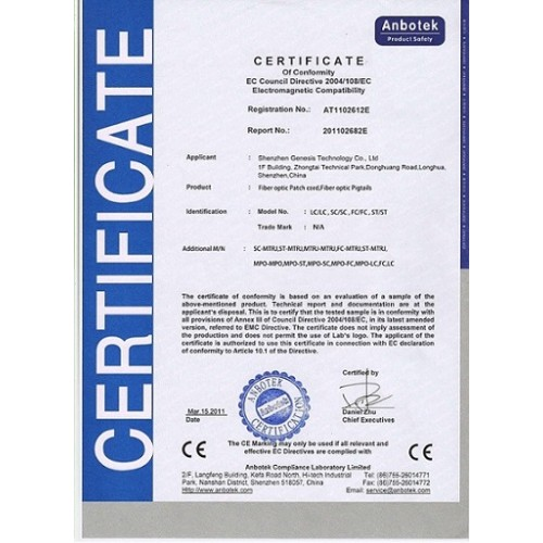Certificate for Optic fiber Patch cord and Pigtails CE