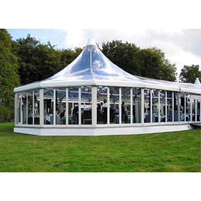Clear High Peak Mixed Marquee Tent  For Wedding  For 100 People Seater Guest