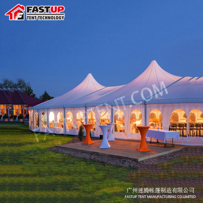 PVC High Peak Mixed Marquee Tent For Banquet Hall For 100 People Seater Guest