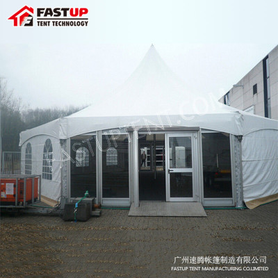 China Manufacturer Aluminum  Hexagon Tent For Brand Ceremony  Diameter  8M 50 People Seater Guest