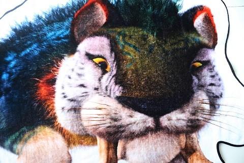 Wholesale 100 cotton irregular shape tiger printed beach towel