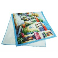 High Quality 100% Cotton Custom View Printed Velour Face Towel