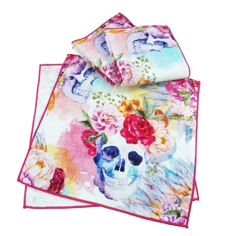 skull flower towels