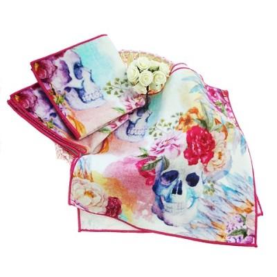 New design top quality digital custom print hand towel with skull flower