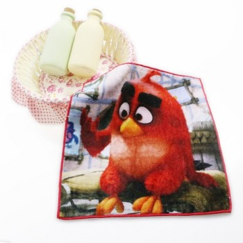 100% cotton printed small hand towel with birds pattern