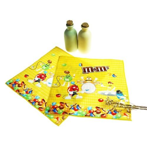 纯棉数码印花小方巾 创意巧克力印花小毛巾 厂家推荐批量个性定制