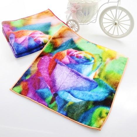 厂家直销3D超清小浴巾4K数码喷墨印花加厚毛巾个性化毛巾批量定制