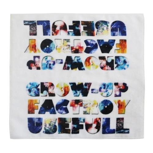 不懒人纯棉4K数码印花方巾 创意字母花型印染小毛巾 可个性化定制