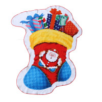 Digital Printed Irregular Shaped Beach Towel With 100% Cotton Christmas Santa Socks