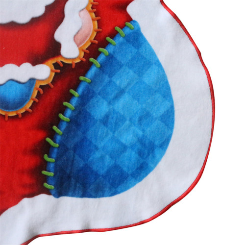 Digital Printed Irregular Shaped Beach Towel With 100% Cotton Christmas Santa Socks