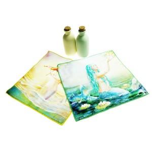 纯棉数码印花方巾  美人鱼全棉印染小毛巾  厂家推荐来图个性定制