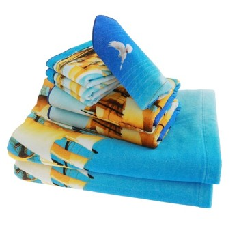 100% cotton digital printed customized towel set