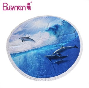 High Quality Large Thick Round Digital Printed Logo Cotton Promotional Custom Beach Towel