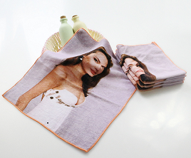 私人定制超高清4K创意数码喷墨印花毛巾数码纯棉小毛巾方巾小批量