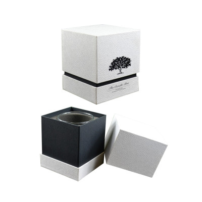 Cute refinement white cardboard rigid square candle gift packaging boxes