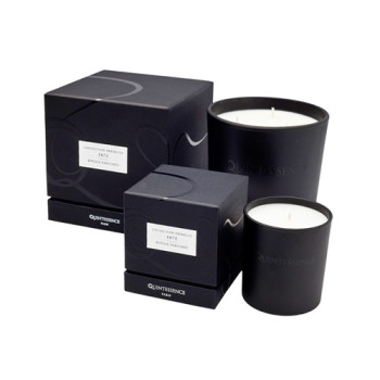 Custom black cardboard round candle gift Box packaging with ribbon