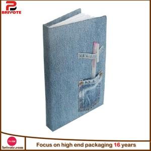 Customized luxury denim jean spriral notebook