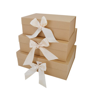 Ribbon folding box ribbon closures gift box with ribbon closure