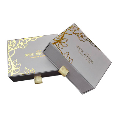 New style designer sliding cardboard marble drawer gift box with die cut