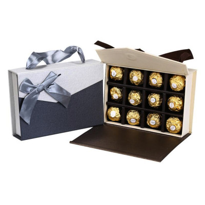 High quality wholesale custom chocolate magnet packaging box with ribbon