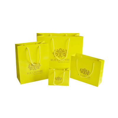 Luxury matte black shopping paper bag with logo for clothing packaging