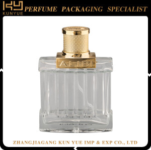 Good quality 100ml empty glass bottle,glass spray perfume bottle,glass bottle cosmetic with gold cap