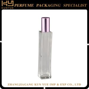 Silver crimp pump luxury custom made empty glass perfume bottle for sale