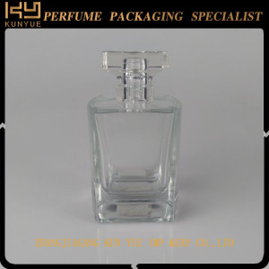 Empty glass bottle empty glass bottle with gold color crimp version spray pump for perfume packaging
