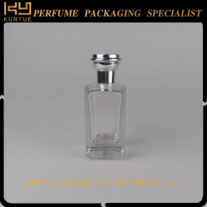 Empty Square Spray Perfume Glass Bottle with Gold or Silver Cap
