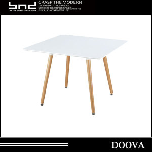 High quality square plastic dining table with wood legs for dining room coffee shop outsides