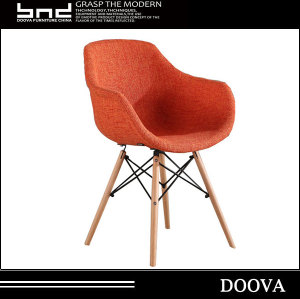 Fabric plastic chair dining chair coffee chair with wooden legs