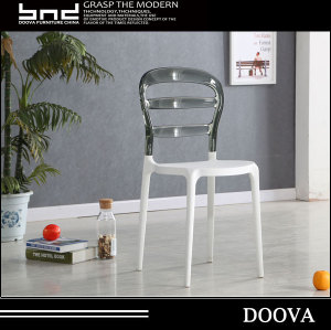 Clear pc back pp seat stacking outdoor modern plastic chair PC501 From DOOVA FURNITURE