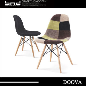 Fabric chair durable dining chair With wood leg