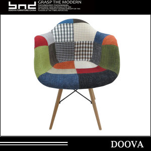 Patchwork Fabric Soft Emes Dining Chair Armrest Sofa Dining Chair