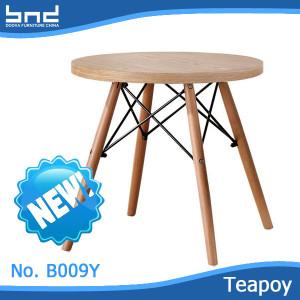 2016 modern design metal legs with veneer wood top coffee table