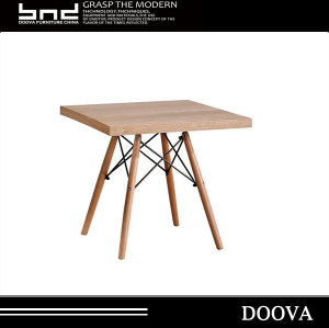 2017 wholesale wooden top with Metal frame dining table for sale